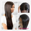 Indian remy hair natural straight 16inch natural color glueless with silk top full lace wigs-GSW10