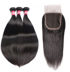 Natural Straight Hair Weaves With 4*4 Lace Closure Wholesale Brazilian Virgin Hair-HW009