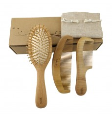Natural Wood Hair Brush with Wooden Bristles Massage Scalp Comb and Peach Wood Beard Comb for Men and Women 3 pcs
