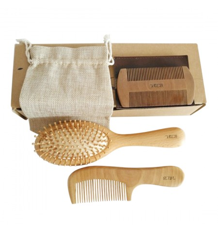 Family wood comb Pack - Wood Beard Comb with Case and Wooden Hair Brush with Cotton Bag Kit for Home and Travel 3 pcs