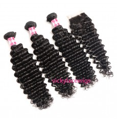 Deep Wave Bundles With Lace Closure Wholesale Brazilian Virgin Hair-HW006