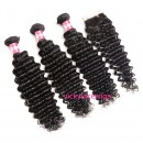 Wholesale deep wave 6A Grade Brazilian Virgin Hair wefts-HW006