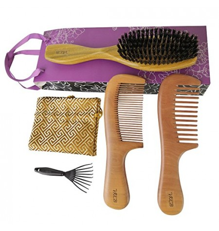 Boar Bristle Hair Brush with Natural Green Sandalwood Handle Set for Women and Men Thin Hair - Peach Wood Comb (Wide Tooth and Fine Tooth)Massage Scalp for Medium to Thick Hair Gift Packaged 3 Pcs