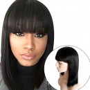 Brazilian Human Hair Bob Wigs with Bangs Yaki Machine Made Glueless Short Wigs with Wood comb and Wi