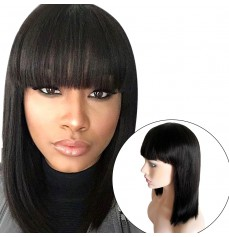 Brazilian Human Hair Bob Wigs with Bangs Yaki Machine Made Glueless Short Wigs with Wood comb and Wig Cap (12 Inch, Natural Color)