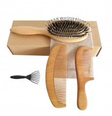 Boar Bristle Hair Brush with Natural Wooden Comb and Peach Wood Beard Comb Massage Scalp for Men and Women Medium to Thick Hair 3 pcs