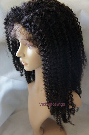 Trend Kinky curly texture full lace human hair wig natural color
