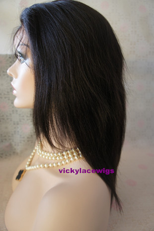 Silk top lace front 10 inch color #1b coarse yaki Indian hair