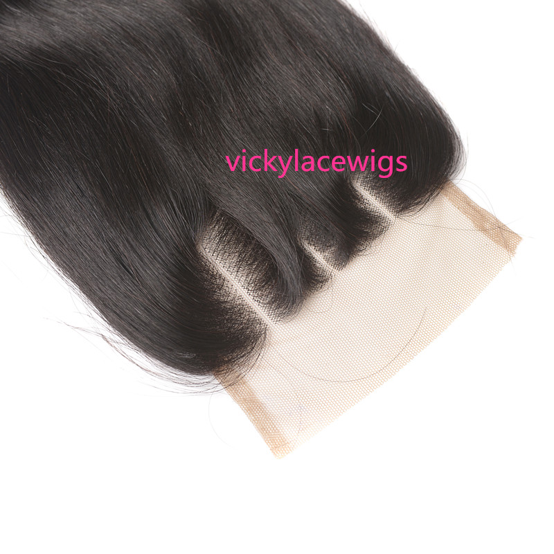 natural straight three part lace closure